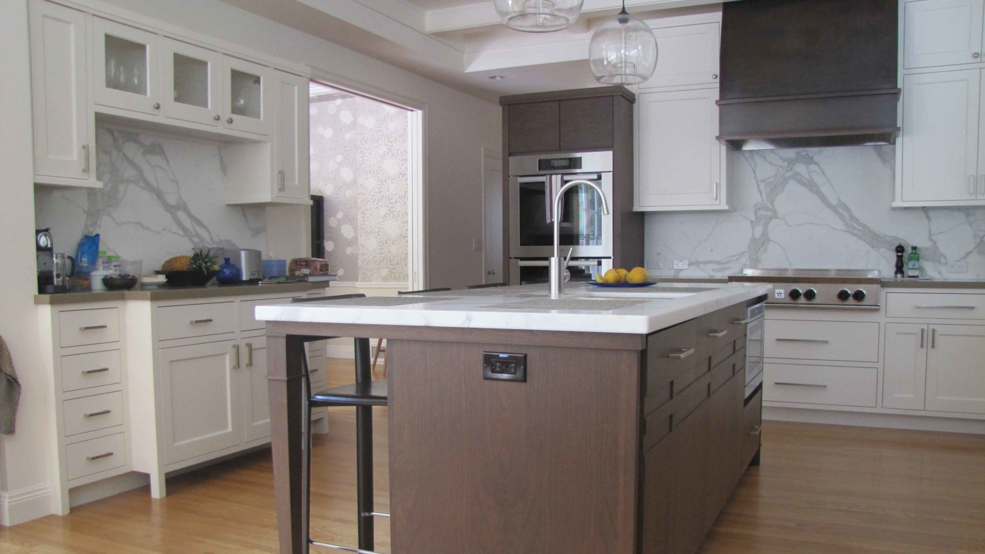 Walnut And White Painted Kitchen Cabinetedia Center