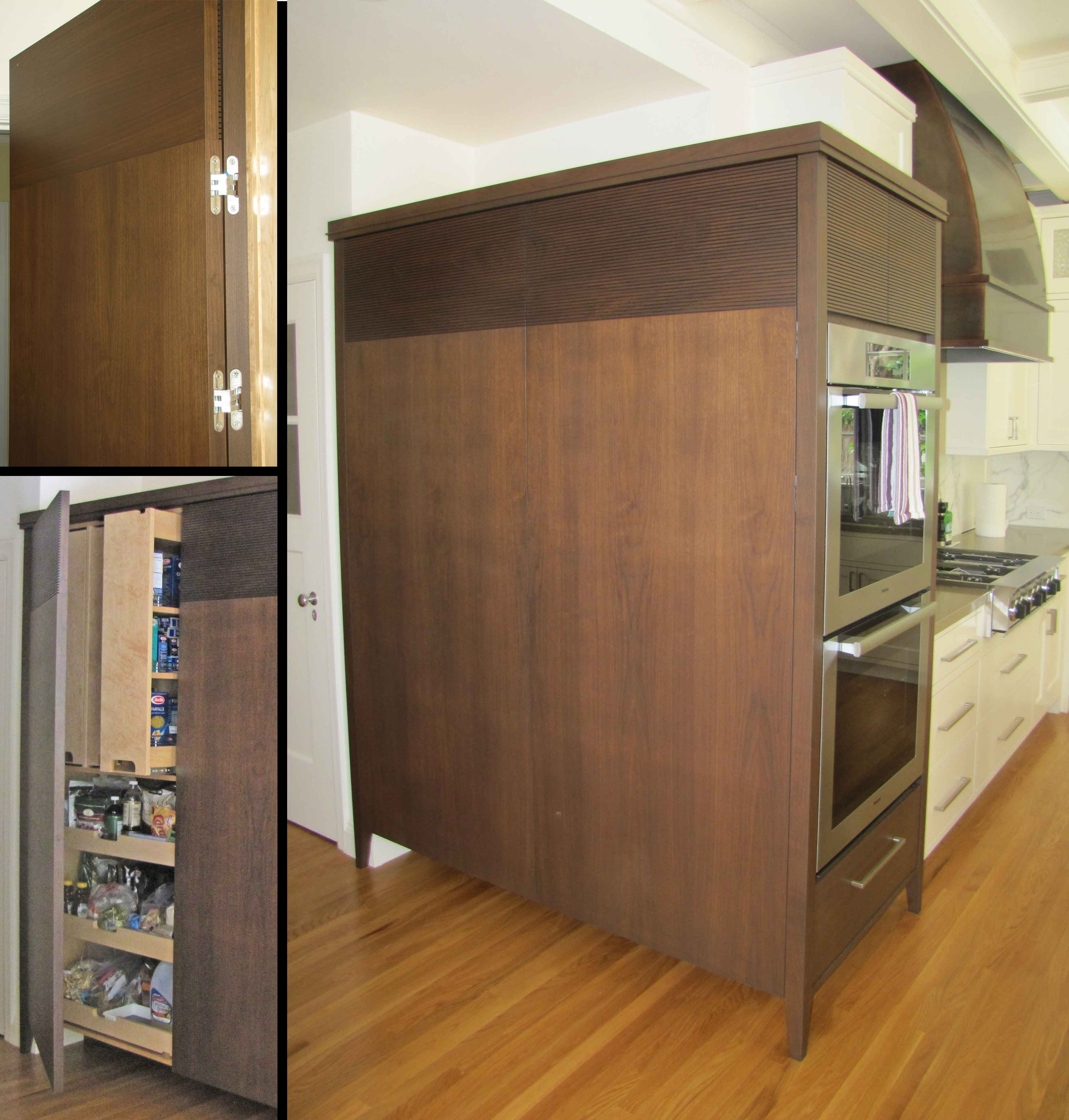 Walnut And White Painted Kitchen Cabinets And Media Center