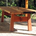 live edge redwood slab table